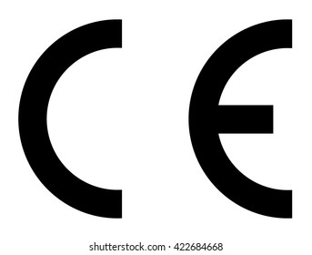 CE mark, CE symbol, accurate black isolated vector illustration.