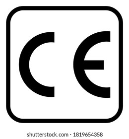CE mark symbol for conformite europeenne, clean label product, information vector illustration sign