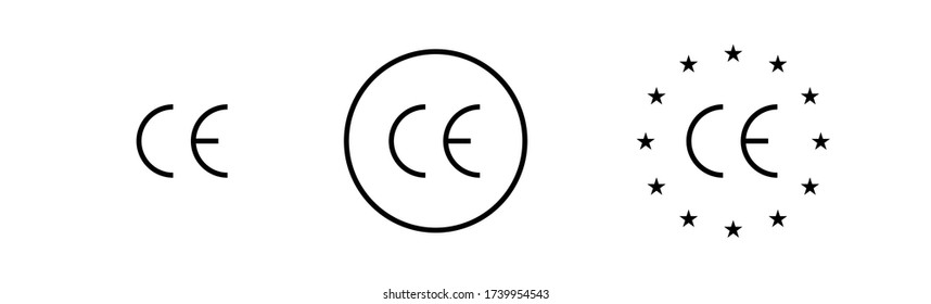 CE mark symbol isolated icon on white background. Vector illustration.