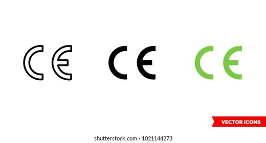 Ce marking packaging symbol icon of 3 types: color, black and white, outline. Isolated vector sign symbol.