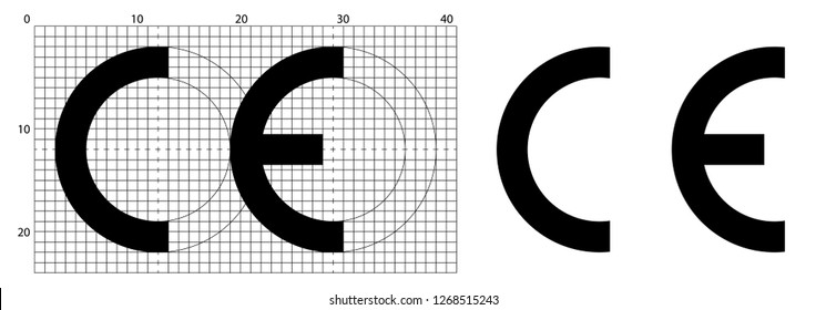 CE marking (short for Conformite Europeenne) symbol. Correct dimensions as per official construction sheet.