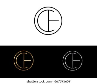 CE round circle shape initial letter logo