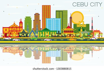 Cebu City Philippines Skyline with Color Buildings, Blue Sky and Reflections. Vector Illustration. Business Travel and Tourism Concept with Modern Architecture. Cebu City Cityscape with Landmarks.