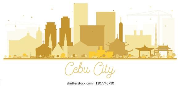 Cebu City skyline Golden silhouette. Vector illustration. Simple flat concept for tourism presentation, banner, placard or web site. Business travel concept. Cityscape with landmarks.