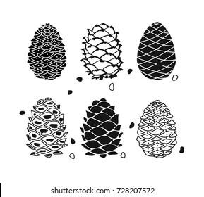 Cedar cone set, sketch for your design