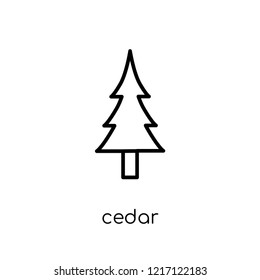 Cedar icon. Trendy modern flat linear vector Cedar icon on white background from thin line nature collection, editable outline stroke vector illustration
