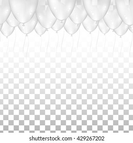 Ceiling Covered in White Balloons on transparent background. Vector illustration. Design for wedding.