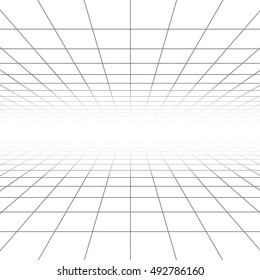 Ceiling and floor perspective grid vector lines, architecture wireframe. Infinity checkered tiled illustration