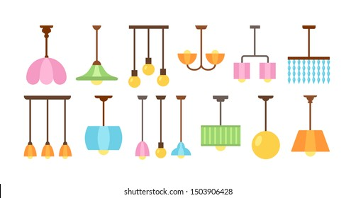 Ceiling pendant lamps & chandeliers with led bulbs. Light fixtures for home. Vector flat icon set. Isolated objects on white background
