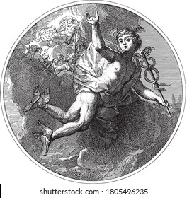 Ceiling piece with the god Mercury flying with the caduceus in his hand. In the background the gods of Olympus on the clouds, vintage engraving.