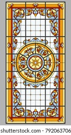 Ceiling - stained glass. Vector.