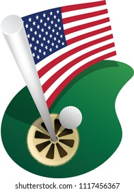 To celebrate 4th of July an Illustration of a golf flag with the USA flag on it from above with a golf ball rolling in the hole.