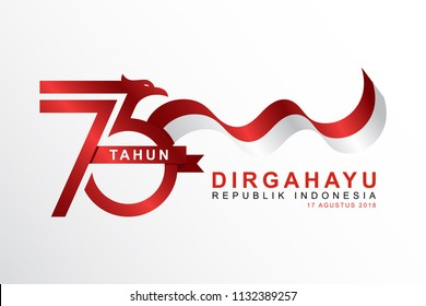 Celebrate 73 tahun indonesia with beautiful wavy flag, Happy independence day indonesian translation. Flag banner of indonesian happy independence day.