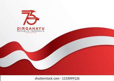 Celebrate 73 tahun indonesia with beautiful wavy flag, Happy independence day indonesian translation. Flag horizontal banner of indonesian happy independence day.