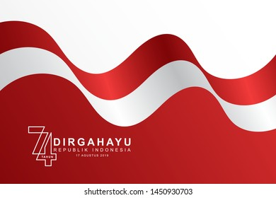 Celebrate 74 tahun indonesia with beautiful wavy flag, Happy independence day indonesian translation. Flag horizontal banner of indonesian happy independence day. Emblem, vector eps10.