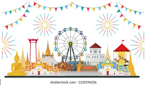 Celebrate in Bangkok and across Thailand. with attractions, landmark. vector illustration