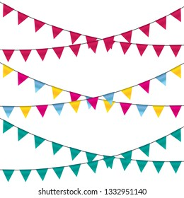 Celebrate banner. Party flags vector illustration.