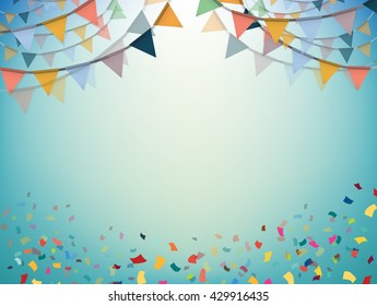 Celebrate bunting flags, bunting Party with confetti