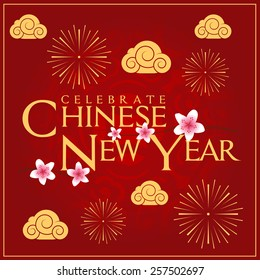 Celebrate Chinese New Year Card Minimal Design Decoration