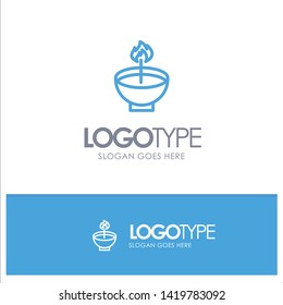 Celebrate, Deepam, Deepavali, Diwali, Festival, Lamp, Light Blue Outline Logo Place for Tagline