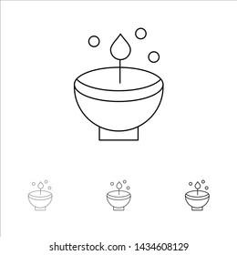Celebrate, Deepam, Deepavali, Diwali, Festival, Lamp, Light Bold and thin black line icon set