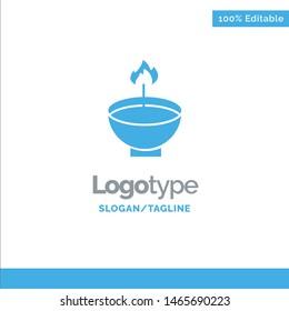 Celebrate, Deepam, Deepavali, Diwali, Festival, Lamp, Light Blue Solid Logo Template. Place for Tagline. Vector Icon Template background