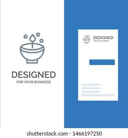 Celebrate, Deepam, Deepavali, Diwali, Festival, Lamp, Light Grey Logo Design and Business Card Template. Vector Icon Template background