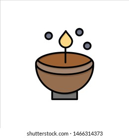 Celebrate, Deepam, Deepavali, Diwali, Festival, Lamp, Light  Flat Color Icon. Vector icon banner Template. Vector Icon Template background