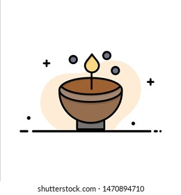 Celebrate, Deepam, Deepavali, Diwali, Festival, Lamp, Light  Business Flat Line Filled Icon Vector Banner Template. Vector Icon Template background
