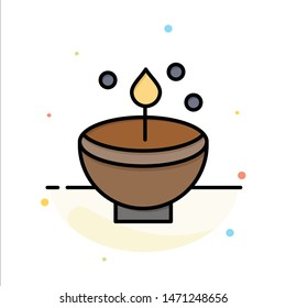 Celebrate, Deepam, Deepavali, Diwali, Festival, Lamp, Light Abstract Flat Color Icon Template. Vector Icon Template background