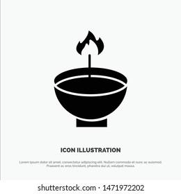 Celebrate, Deepam, Deepavali, Diwali, Festival, Lamp, Light solid Glyph Icon vector