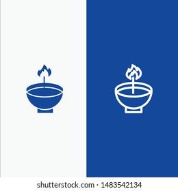 Celebrate, Deepam, Deepavali, Diwali, Festival, Lamp, Light Line and Glyph Solid icon Blue banner Line and Glyph Solid icon Blue banner