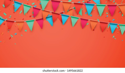 Celebrate horizontal orange  banner composed with party flags with confetti. Vector illustration.