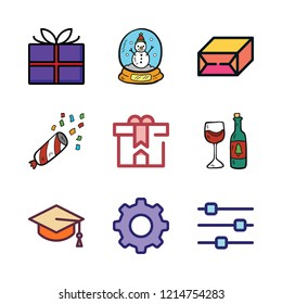 celebrate icon set. vector set about snow globe, confetti, gift and wine glass icons set.