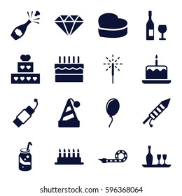 celebrate icons set. Set of 16 celebrate filled icons such as cake with one candle, soda, heart cake, cake, party pipe, sparkler, fireworks, firework, wine bottle and glass