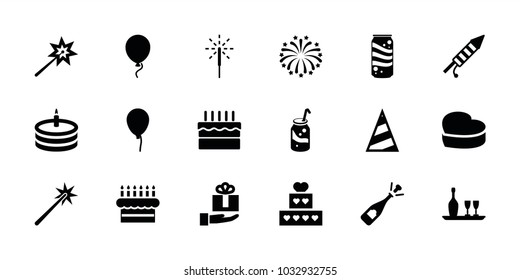 Celebrate icons. set of 18 editable filled celebrate icons: baloon, opened champagne, sparklers, cake, soda, heart cake, gift on hand, sparkler, fireworks