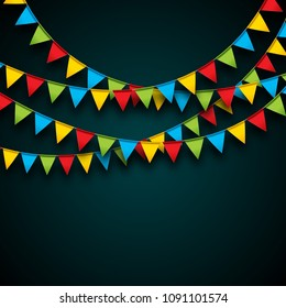 Celebrate Illustration with Party Flags and Falling Confetti on Dark Background. Vector Holiday Festival Design for Greeting Card, Invitation or Poster.