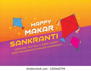 Celebrate Makar Sankranti background with colorful kites.