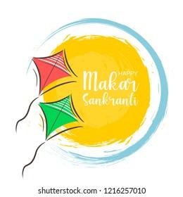 Celebrate Makar Sankranti background with colorful kites and sun.