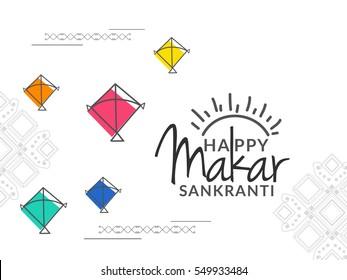 Celebrate Makar Sankranti background with colorful kites.