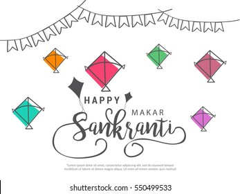 Celebrate Makar Sankranti greeting card background with colorful kites.