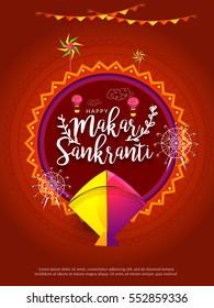 Celebrate Makar Sankranti greeting card background with colorful kites.
