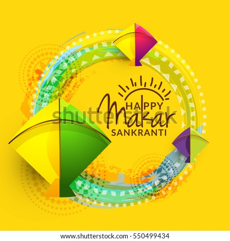 Celebrate makar sankranti greeting card background stock vector celebrate makar sankranti greeting card background with colorful kites m4hsunfo