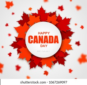 Celebrate the national day of Canada. Red canadian maple leaves with lettering Happy Canada day. Greeting card, poster for national celebration party, independence day, travel banner