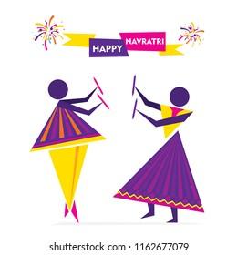 Celebrate navratri festival with couple dancing garba design vector illustration.
