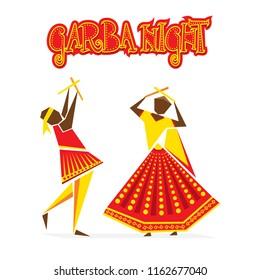 celebrate navratri festival with dancing garba design