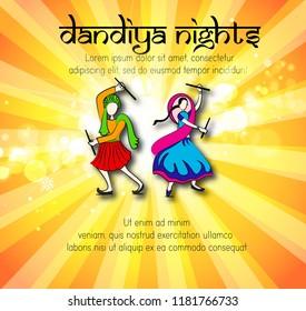 Celebrate navratri festival with dancing garba men design vector
