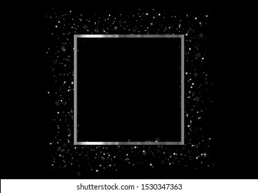 Celebrate Silver frame with glowing lights and sparkle bokeh effects, isolated on background. Shining white glitter square confetti. Luxury premium design template.