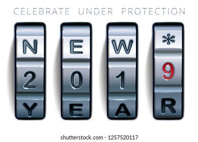 Celebrate under protection. Steel combination lock with a greeting text New 2019 Year. Realistic vector case code lock. Design for companies which specializing in data protection and security service.