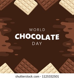 Celebrate world chocolate day background with dark and white chocolate bar.